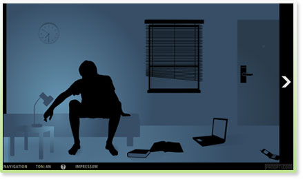 Screen einer Flashanimation zum Thema Datenschutz